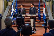 Premier Rutte en zijn Griekse collega Premier Mitsotakis houden een gezamelijke persconferentie na afloop van het bezoek van de Griekse Premier.