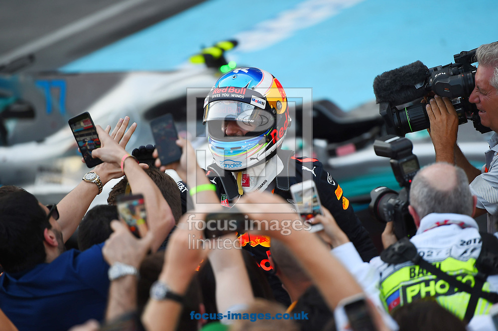 Daniel Ricciardo of Red Bull celebrates winning the Azerbaijan Formula One Grand Prix at Baku City Circuit, Baku<br /> Picture by EXPA Pictures/Focus Images Ltd 07814482222<br /> 25/06/2017<br /> *** UK & IRELAND ONLY ***<br /> <br /> EXPA-EIB-170625-0056.jpg