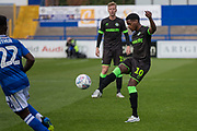 Forest Green Rovers Reece Brown(10) passes the ball during the EFL Sky Bet League 2 match between Macclesfield Town and Forest Green Rovers at Moss Rose, Macclesfield, United Kingdom on 29 September 2018.