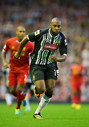 LIVERPOOL, ENGLAND - Tuesday, August 27, 2013: Notts County's Yoann Arquin in action against Liverpool during the Football League Cup 2nd Round match at Anfield. (Pic by David Rawcliffe/Propaganda)
