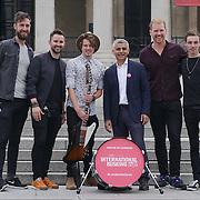 London,England,UK, 22th July 2016 : Keywest join the Mayor of London Sadiq Khan Launch of International Busking Day '#LondonIsOpen' in Trafalgar Square, London, UK. Photo by See Li