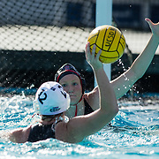 11 February 2018: The San Diego State  women's water polo team competes in day two of the Triton Invitation on the campus of UCSD. San Diego State Aztecs utility Lizzy Bilz (16) defends CSUN Matadors Charissa Dorn (12) during the third quarter. The Aztecs took on the #23 CSUN Matadors Sunday morning and came away with a 8-5 win.<br /> More game action at www.sdsuaztecphotos.com