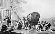 Picture of an old-Dutch country house.  A well-to-do family has just arrived in their Dutch carriage and is heartily welcomed by the residents of the house.