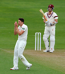 Dejection for Durham's Paul Coughlin as Somerset's Tom Cooper survives a near chance - Photo mandatory by-line: Harry Trump/JMP - Mobile: 07966 386802 - 12/04/15 - SPORT - CRICKET - LVCC County Championship - Day 1 - Somerset v Durham - The County Ground, Taunton, England.