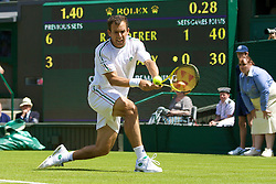 LONDON, ENGLAND - Monday, June 23, 2008: Dominik Hrbaty (SVK) in action during his first round match on day one of the Wimbledon Lawn Tennis Championships at the All England Lawn Tennis and Croquet Club. (Photo by David Rawcliffe/Propaganda)