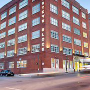 Roaster's Block Exterior Photography; former Folgers Coffee Plant in downtown Kansas City converted to residential apartment use.