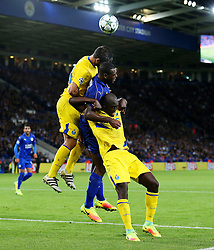 Wes Morgan of Leicester City challenges for a header - Mandatory by-line: Matt McNulty/JMP - 27/09/2016 - FOOTBALL - King Power Stadium - Leicester, England - Leicester City v FC Porto - UEFA Champions League