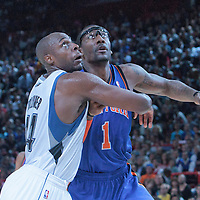 06 October 2010: New York Knicks forward Amare Stoudemire #1 fights for a rebound against Minnesota Timberwolves center Anthony Tolliver #44 during the Minnesota Timberwolves 106-100 victory over the New York Knicks, during 2010 NBA Europe Live, at the POPB Arena in Paris, France.