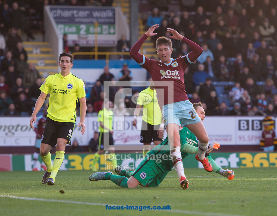 Chris Long of Burnley (right) expresses his disappointment at missing an opportunity during the Sky Bet Championship match at Turf Moor, Burnley<br /> Picture by Russell Hart/Focus Images Ltd 07791 688 420<br /> 22/11/2015