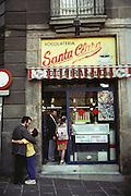 Chocolate shop Santa Clara in the Gothic Quarter, Barcelona, Spain.