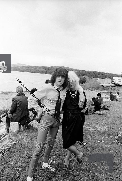 Paula Yates and friend - The Loch Lomond Rock Festival 1979