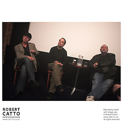 Matt Sunderland;Robert Sarkies;Graeme Tetley at the Panel discussion with the creators of Out Of The Blue at the Cameo @ The Paramount at the Paramount Theatre, Wellington, New Zealand.<br />