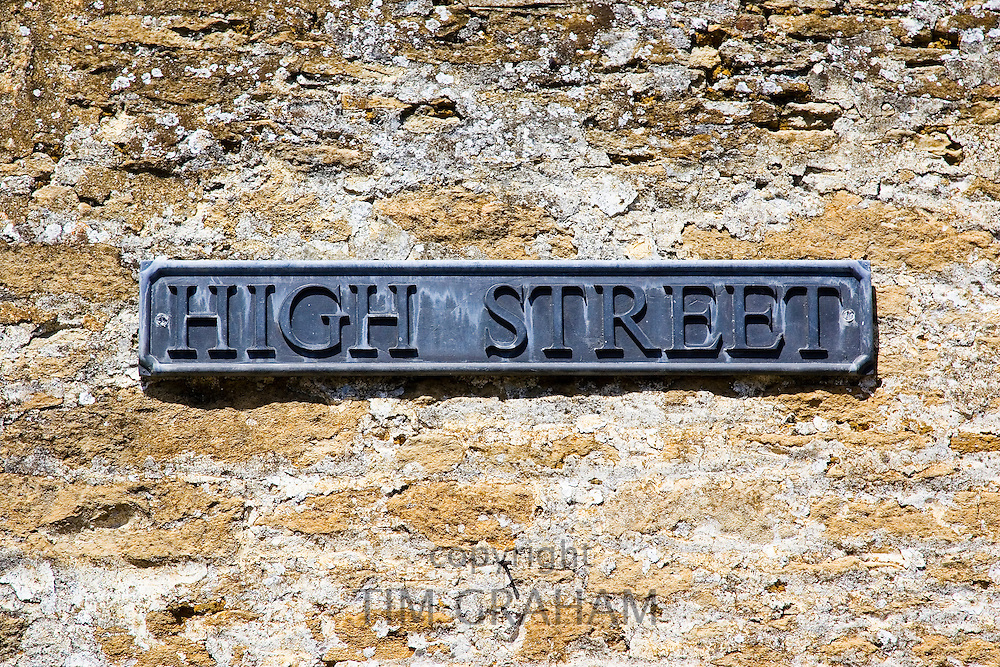 'High Street' road sign in Lacock, Wiltshire, United Kingdom