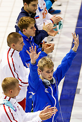 Jack Laugher of Great Britain is introduced before the Mens 1m Springboard Final - Photo mandatory by-line: Rogan Thomson/JMP - 07966 386802 - 19/08/2014 - SPORT - DIVING - Berlin, Germany - SSE im Europa-Sportpark - 32nd LEN European Swimming Championships 2014 - Day 7.