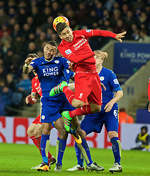 LEICESTER, ENGLAND - Monday, February 1, 2016: Liverpool's Roberto Firmino in action against Leicester City during the Premier League match at Filbert Way. (Pic by David Rawcliffe/Propaganda)