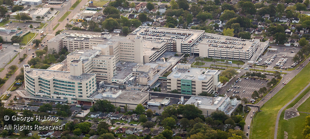 aerial view of Ochsner Hospital on Jefferson Highway near the Mississippi River levee in Metairie, Louisiana