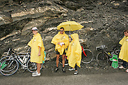The Free Tour de France ponchos came in handy on the mountain waiting for the Tour de France.
