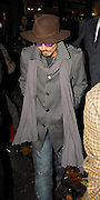 28.NOVEMBER.2007. LONDON<br /> <br /> ACTOR JOHNNY DEPP LEAVING CIPRIANI&rsquo;S RESTAURANT, MAYFAIR AT 12.15AM WEARING PURPLE GLASSES AND WEARING VERY DIRTY AND TATTY LOOKING BOOTS AFTER HAVING DINNER WITH A VERY PREGNANT HELEN BOHNAM CARTER AND HUSBAND DIRECTOR TIM BURTON.<br /> <br /> BYLINE: EDBIMAGEARCHIVE.CO.UK<br /> <br /> *THIS IMAGE IS STRICTLY FOR UK NEWSPAPERS AND MAGAZINES ONLY*<br /> *FOR WORLD WIDE SALES AND WEB USE PLEASE CONTACT EDBIMAGEARCHIVE - 0208 954 5968*