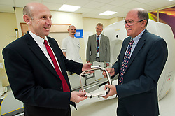 John Healey MP Member for Wentworth  Dearne with left to right Robert Ward Lead Radiographer, Neuro Surgeons Matt Radatz and Andras Kemeny during his visit to Thornbury Medical Centre to see the Gamma Knife Radio Therapy system.17th October 2011. Image © Paul David Drabble