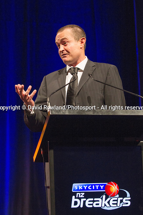 Skycity Breakers' CEO Richard Clarke speaks at the Skycity Breakers Awards, 2013-14, Skycity Convention Centre, Auckland, New Zealand, Friday, March 28, 2014. Photo: David Rowland/Photosport