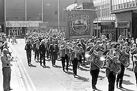 Frickley Branch banner on the 99th Yorkshire Miners Gala. 1986 Doncaster.