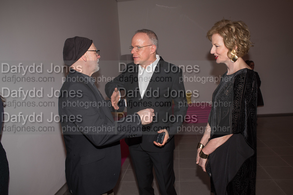 DUNCAN MACASKILL; HANS ULRICH OBRIST; JULIA PEYTON-JONES, Serpentine Gallery and Harrods host the Future Contempories Party 2016. Serpentine Sackler Gallery. London. 20 February 2016