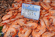 France, Paris, an outdoor, street food market shrimps in a seafood stall