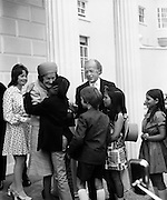 Newly inaugurated President Erskine Childers and his wife Rita, are congratulated by grandchildren at the Aras. The couple's daughter, Nessa is on the extreme left of the picture. 25/06/1973