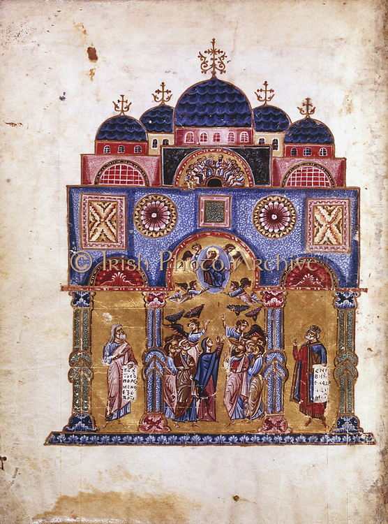 Byzantine art. The Monk James (James of Kokkinobaphos) Homilies on the Virgin (12th century). Ascension (centre), David (right, wearing crown) and Isiah (left). Paris, Bibliotheque Nationale.
