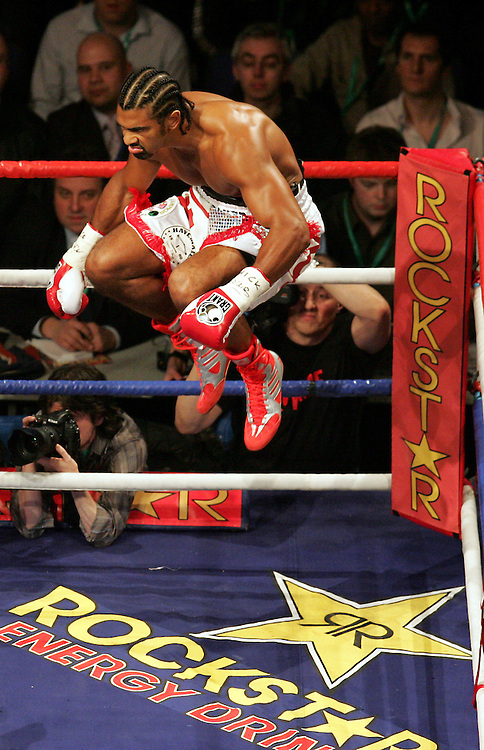 David Haye leaps in the air as he prepares to come out for round one.  WBA and WBC champion David Haye knocked out WBO champion Enzo Maccarinelli in two rounds on Saturday night at the O2 Arena in London. 8th March 2008.