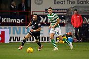 31st October 2018, Kilmac Stadium, Dundee, Scotland; Ladbrokes Premiership football, Dundee v Celtic; Sofien Moussa of Dundee and Filip Benkovic of Celtic