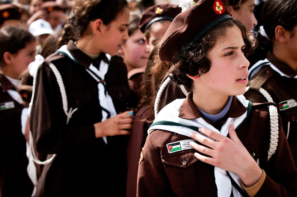 Palestinian girl scouts attend a cultural festival in Gaza City.