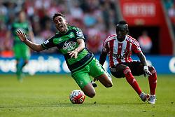Swansea City's Neil Taylor is tackled by Southampton's Sadio Mane - Mandatory by-line: Jason Brown/JMP - 07966 386802 - 26/09/2015 - FOOTBALL - Southampton, St Mary's Stadium - Southampton v Swansea City - Barclays Premier League