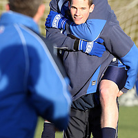 St Johnstone Training..11.01.08<br /> Stuart McCaffrey gets a piggy back ride from Kevin Moon in training this morning before tomorrow's Scottish Cup tie v Raith.<br /> see story by Gordon Bannerman Tel: 01738 553978 or 07729 865788<br /> Picture by Graeme Hart.<br /> Copyright Perthshire Picture Agency<br /> Tel: 01738 623350  Mobile: 07990 594431
