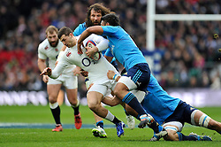 Jonny May of England is tackled - Photo mandatory by-line: Patrick Khachfe/JMP - Mobile: 07966 386802 14/02/2015 - SPORT - RUGBY UNION - London - Twickenham Stadium - England v Italy - Six Nations Championship