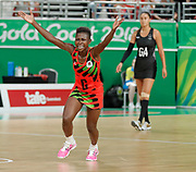 8th April 2018, Gold Coast Convention and Exhibition Centre, Gold Coast, Australia; Commonwealth Games day 4; Netball Malawi versus New Zealand Takondwa Lwazi celebrates as Malawi defeat New Zealand 57-53