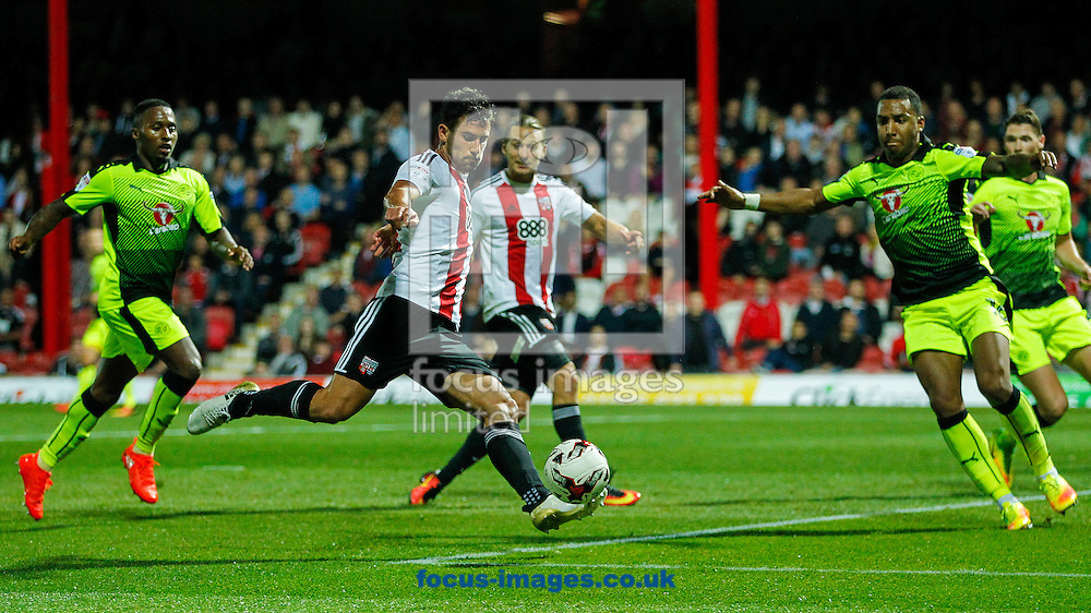 Maxime Colin of Brentford scores the third goal during the Sky Bet Championship match between Brentford and Reading at Griffin Park, London<br /> Picture by Mark D Fuller/Focus Images Ltd +44 7774 216216<br /> 27/09/2016