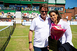 LIVERPOOL, ENGLAND - Sunday, June 24, 2018: Tournament director Anders Borg presents flowers to Marion Bartolli (FRA) during day four of the Williams BMW Liverpool International Tennis Tournament 2018 at Aigburth Cricket Club. (Pic by Paul Greenwood/Propaganda)