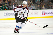 DALLAS, TX - SEPTEMBER 26:  Andre Benoit #61 of the Colorado Avalanche looks on against the Dallas Stars in an NHL preseason game on September 26, 2013 at the American Airlines Center in Dallas, Texas.  (Photo by Cooper Neill/Getty Images) *** Local Caption *** Andre Benoit