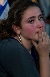 An Israeli young woman grieves for the three Israeli teens at a joint funeral at a cemetery in Modi'in near Jerusalem, on July 1, 2014. The three Israeli teens whose bodies were found Monday evening were brought to rest side by side on Tuesday at a joint funeral held in Modi'in near Jerusalem. Tens of thousands of people participated in the funeral, including Prime Minister Benjamin Netanyahu and President Shimon Peres, who eulogized the three, whose caskets were wrapped with Israeli flags. EXPA Pictures © 2014, PhotoCredit: EXPA/ Photoshot/ Li Rui<br /> <br /> *****ATTENTION - for AUT, SLO, CRO, SRB, BIH, MAZ only*****