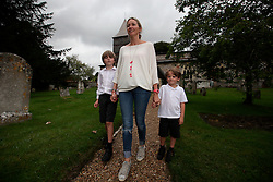 "UK ENGLAND HURSTBOURNE TARRANT 9SEP16 - Tamsin Evans (46), and her sons Oscar ""Ozzy"" (5, R) and Wilf (9) walk in Hurstbourne Tarrant, westcountry, England.<br /> <br /> jre/Photo by Jiri Rezac<br /> <br /> © Jiri Rezac 2016"