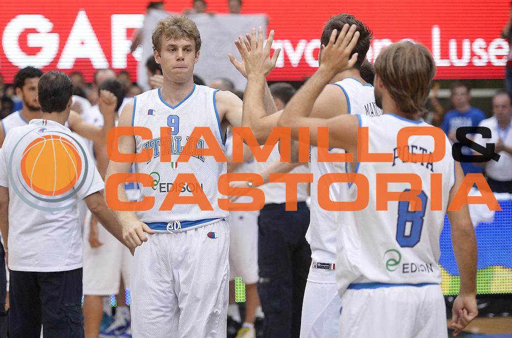 DESCRIZIONE : Trentino Basket Cup Italia-Israele<br /> GIOCATORE : Nicolo' Melli<br /> CATEGORIA : pregame<br /> SQUADRA : Nazionale Italiana<br /> EVENTO : Trentino Basket Cup<br /> GARA : Italia-Israele<br /> DATA : 08/08/2013<br /> SPORT : Pallacanestro <br /> AUTORE : Agenzia Ciamillo-Castoria/R. Morgano<br /> Galleria : FIP nazionali 2013  <br /> Fotonotizia : Trentino basket cup Italia-Israele<br /> Predefinita :