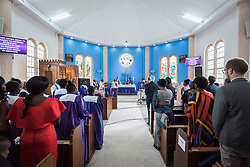 "11 March 2018, Arusha, Tanzania: In a spirit of vibrant hospitality, the Christ Church Cathedral of Mount Kilimanjaro Diocese, Arusha, Tanzania celebrated mass on 11 March, inviting fellow Christians from around the world currently participating in the WCC Conference on World Mission and Evangelism. <br /> <br /> The cathedral, whose location in central Arusha historically marked the mid-point between Cape Town (South Africa) and Cairo (Egypt), has a long history as a central worship point for a mixture of local and international congregants. <br /> <br /> Reflecting the call to mission, the church is active in the areas of Education and Health, and sponsors schools, hospitals, as well as charity work. With a particular focus on children, the church organizes a weekly ""Compassion Saturday"", where children are welcomed to the church for Christian teachings, food and other support. <br /> <br /> Welcoming the international visitors to an African worship experience, the service combined traditional aspects of the Anglican liturgy with contemporary African charisma, through choirs and dance."