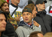 Former Celtic goalkeeper Artur Boruc watches the match beside the Legia Warsaw fans during the Europa League Play Off leg 2 of 2 match between Rangers FC and Legia Warsaw at Ibrox Stadium, Glasgow, Scotland on 29 August 2019.