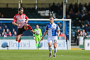 Exeter City's Jamie McAllister clears the ball during the Sky Bet League 2 match between Bristol Rovers and Exeter City at the Memorial Stadium, Bristol, England on 23 April 2016. Photo by Shane Healey.