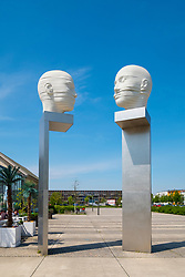 Sculpure 'Kopfbewegung heads shifting', by Josefine Gunschel and Margund Smolka at Adlershof Science and Technology Park  Park in Berlin, Germany