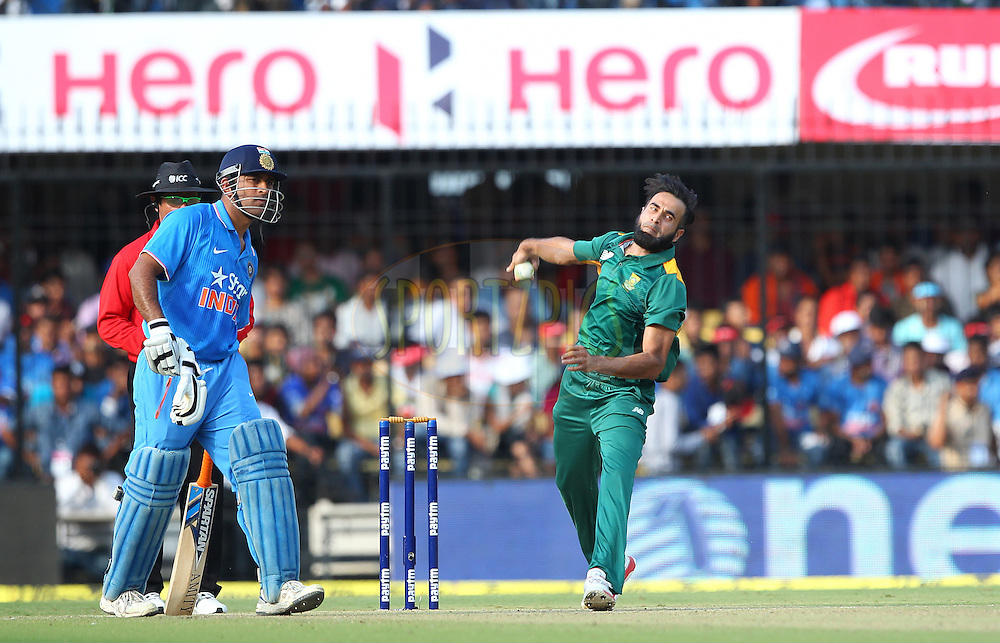 Imran Tahir of South Africa  during the 2nd Paytm Freedom Trophy Series One Day International ( ODI ) match between India and South Africa held at the Holkar Stadium in Indore, India on the 14th October 2015<br /> <br /> Photo by Ron Gaunt/ BCCI/ Sportzpics