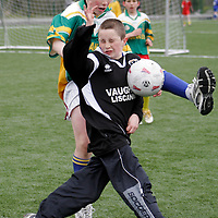 Knockaneen's Alan O'Neill was all over Ennistymon's Owen Davies at the Ribena 5 aside national soccer Blitz in Lees Road on Wednesday.<br /> <br /> <br /> <br /> Photograph by Yvonne Vaughan.