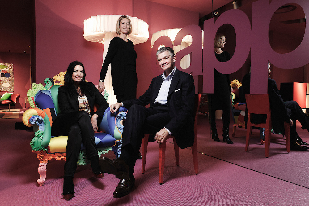 PARIS, FRANCE. NOVEMBER 16, 2010. Bolon's owners Marie and Annica Eklund posing with Italian Designer Giulio Cappellini in his showroom. (photo by Antoine Doyen)