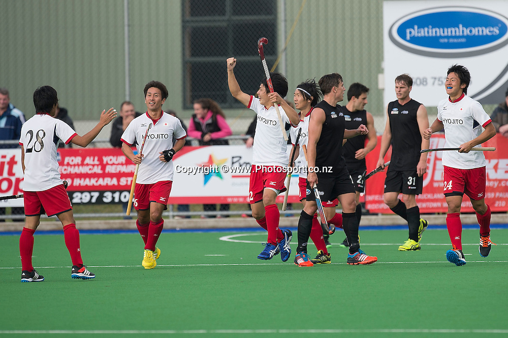 Japan celebrate a goal during the Black Sticks Men v Japan international hockey match at the Coastlands Kapiti Sports Turf in Paraparaumu on Friday the 22nd of November 2014. Photo by Marty Melville/www.Photosport.co.nz